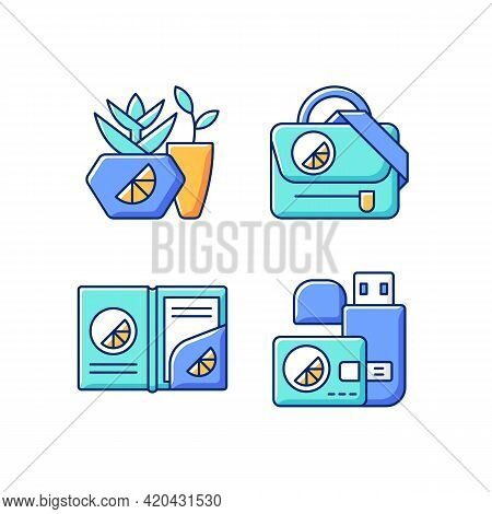 Company Branding Materials Rgb Color Icons Set. Branded Smart Devices For Storing Information And Da