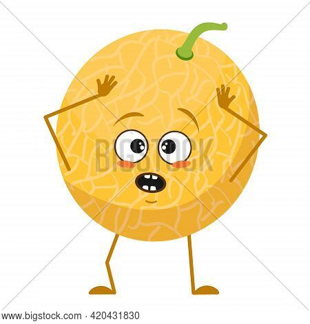 Cute Melon Character With Emotions In A Panic Grabs His Head, Face, Arms And Legs. The Funny Or Sad