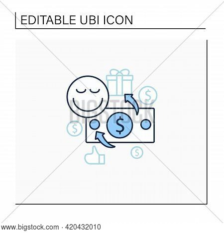 Unconditional Payment Line Icon. Mandatory Contribution. Profitable Investment. Universal Basic Inco