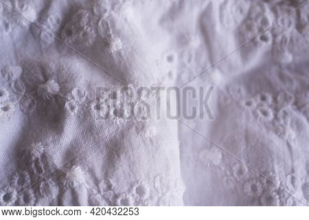 Romantic Linen Kitchen Towels With Cotton Lace Details For An Elegant Home Or Restaurant. On A Black