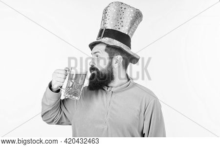 Man Bearded Hipster Funny Hat Drink Pint Beer. Colored Green Beer. Green Beer Part Of Celebration. I