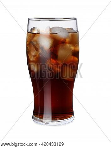 Glass Of Refreshing Beverage With Ice Isolated On White