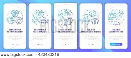 Business Core Ethics Onboarding Mobile App Page Screen With Concepts. Building Strong Communities Wa