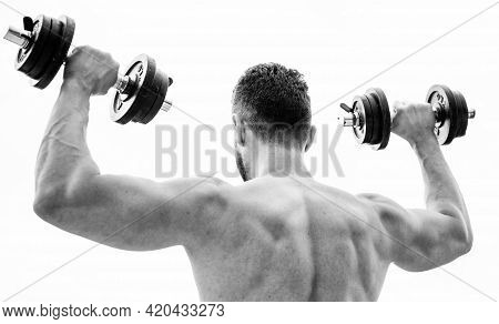 Sportsman With Strong Back And Arms. Sport Equipment. Bodybuilding Sport. Sport Lifestyle. Dumbbell