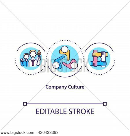 Company Culture Concept Icon. Shared Values, Goals, Attitudes Idea Thin Line Illustration. Social Cu