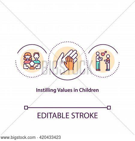 Instilling Values In Children Concept Icon. Introducing Ideas, Principles To Child Idea Thin Line Il