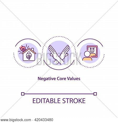 Negative Core Values Concept Icon. Negative Motivation Idea Thin Line Illustration. Potentially Harm