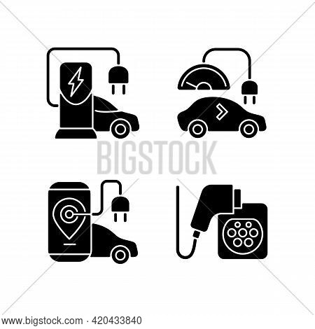 Electric Vehicle Charging Black Glyph Icons Set On White Space. Charging Adapter And Converter To Fi