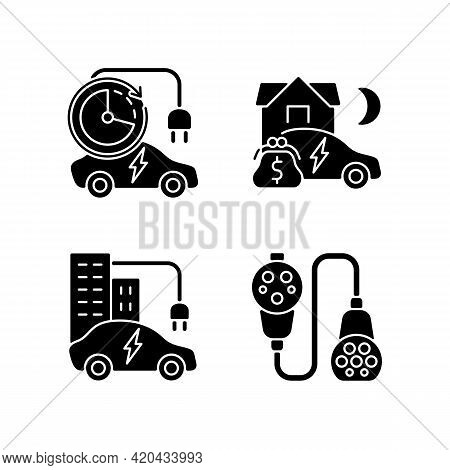 Electric Vehicle Charging Black Glyph Icons Set On White Space. Modern Electric Automobile Charging