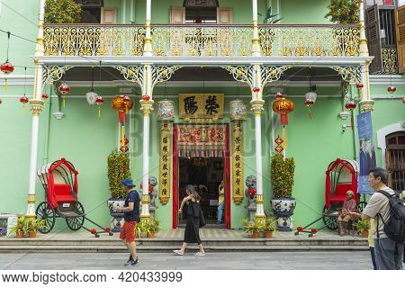 Penang, Malaysia - February 13,2019 : Exterior View Of Pinang Peranakan Mansion In Penang, Malaysia