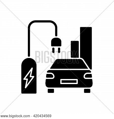 On Street Residential Ev Charging Black Glyph Icon. Charging Stations For Electromobiles On Streets.