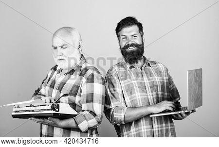 Digital Technologies. Bearded Men. Vintage Typewriter. Technology Battle. Modern Life. Father And So
