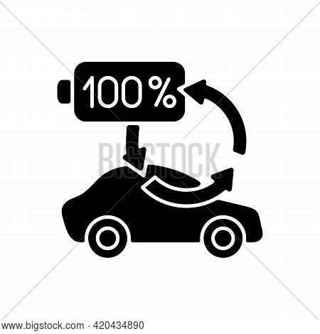 Top Up Charging Black Glyph Icon. Way Of Charging Electric Vehicle To Keep Its Battery Health And We