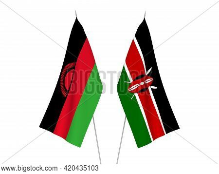 National Fabric Flags Of Kenya And Malawi Isolated On White Background. 3d Rendering Illustration.