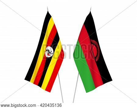 National Fabric Flags Of Uganda And Malawi Isolated On White Background. 3d Rendering Illustration.