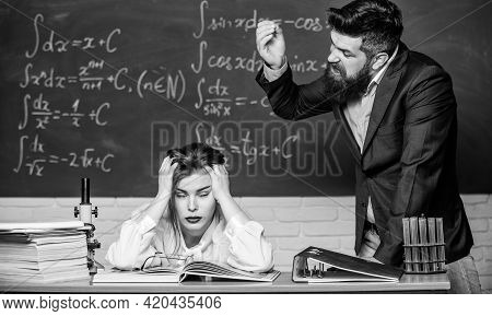 Rebuke And Punishment. You Should Make More Efforts. Arguing About Study. Conflict Situation. School