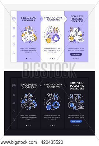 Types Of Genetic Disorders Onboarding Vector Template. Responsive Mobile Website With Icons. Web Pag