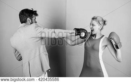Gender Battle. Gender Equal Rights. Family Quarrel. Strong Punch. Boxers Fighting In Gloves. Gender