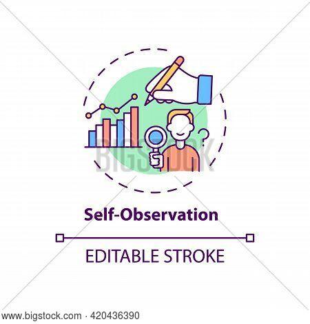 Self Observation Concept Icon. Goal Achievement. Project Management. Personal Motivation. Self Contr