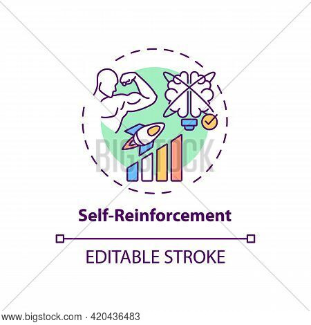 Self Reinforcement Concept Icon. Personal Motivation For Work Efficiency. Skill Improvement. Self Co