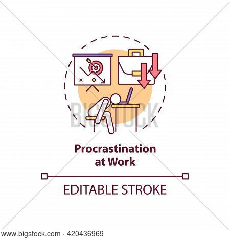 Procrastination At Work Concept Icon. Burnout Symptom. Overworked Manager At Workplace. Self Control