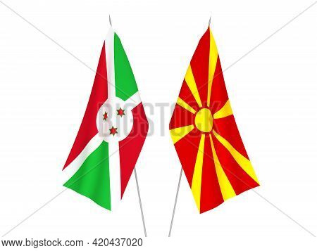 National Fabric Flags Of North Macedonia And Burundi Isolated On White Background. 3d Rendering Illu
