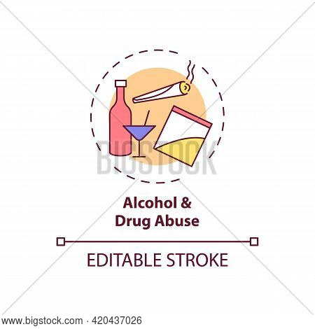 Alcohol And Drug Abuse Concept Icon. Unhealthy Substance Dependence. Smoking Habit. Self Control Pro