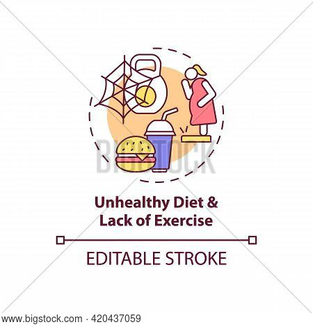 Unhealthy Diet And Lack Of Exercise Concept Icon. Issue With Personal Regulation. Self Control Probl