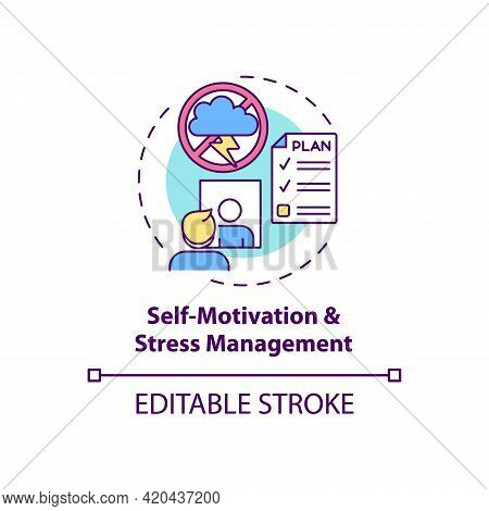 Self Motivation And Stress Management Concept Icon. Personal Growth And Skill Improvement. Self Cont