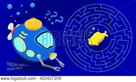 Children Games. Round Maze, Labyrinth. Underwater Adventures. Help Bathyscaphe Rescue His Yellow Sub