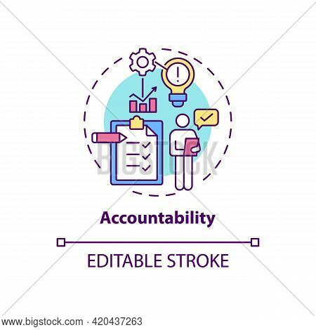 Accountability Concept Icon. Self Regulation. Personal Responsibility. Work Management. Self Control