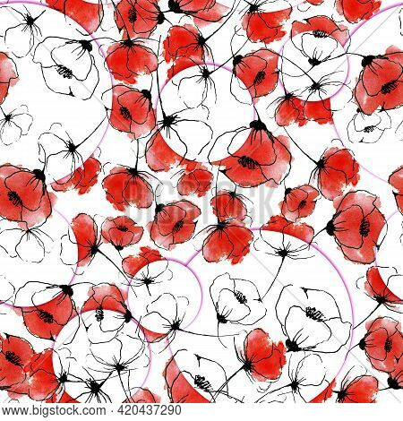 Stylized Red Poppies And Black And White In White Circles Hand Drawn Watercolor Seamless Pattern Des
