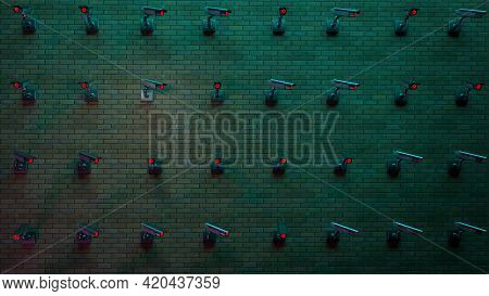 Dark Brick Wall With Lots Of Cctv Security Cameras With Glowing Red Lights. Background Image 3d Redn