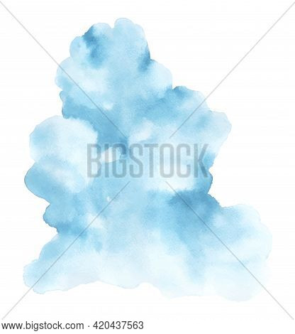 Abstract Blue Watercolor Stain Shape. Cloud Isolated Element By Watercolor Hand-painted.