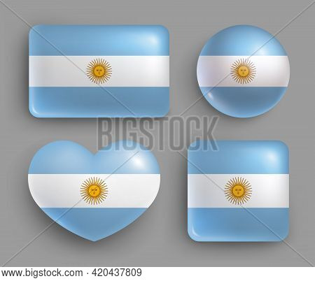 Set Of Glossy Buttons With Argentina Country Flag. Latin America Country National Flag, Shiny Geomet