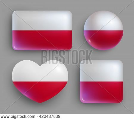 Glossy Buttons With Poland Country Flags Set. European Country National Flag Shiny Badges Of Differe