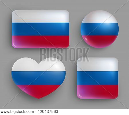 Glossy Buttons With Russia Country Flags Set. European Country National Flag Shiny Badges Of Differe