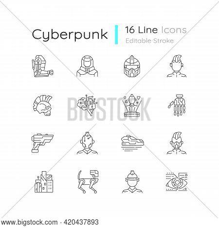 Cyberpunk Linear Icons Set. Science Fiction. Futuristic Technology. Body Augmentation. Customizable