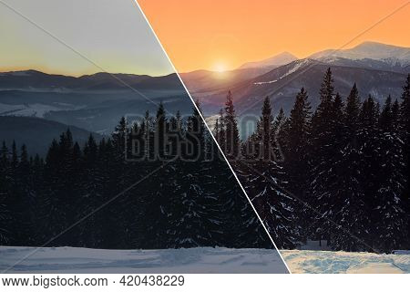 Photo Before And After Retouch, Collage. Beautiful Mountain Landscape With Forest On Snowy Hill In W