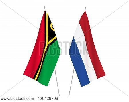 National Fabric Flags Of Netherlands And Republic Of Vanuatu Isolated On White Background. 3d Render