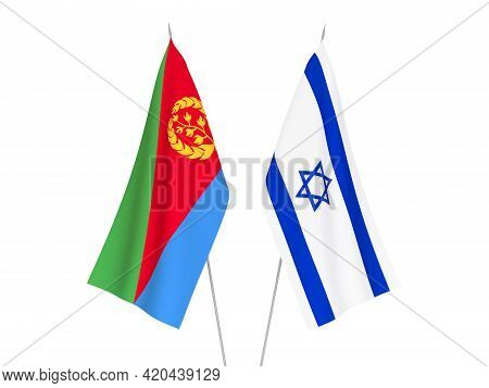 National Fabric Flags Of Eritrea And Israel Isolated On White Background. 3d Rendering Illustration.