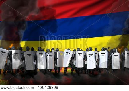 Mauritius Protest Fighting Concept, Police Special Forces In Heavy Smoke And Fire Protecting Law Aga