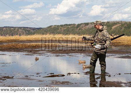 Waterfowler With A Duck Decoy In His Hand Is On The Muddy Shallow Water. He's Getting Ready For A Du