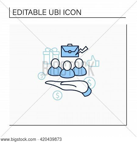 Supporting Workers Line Icon. Supporting Unpaid Care Workers. Caring About Employees. Universal Basi