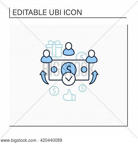 Universal Payment Line Icon. Lump Sum People Payment. Cash For Everyone. Basic Income Concept. Isola