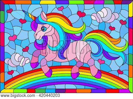 Stained Glass Illustration With Winged Bright Rainbow Cartoon Unicorn Against A Cloudy Blue Sky And
