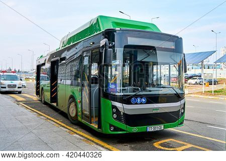 Airport Shuttle Bus To Tbilisi. The Bus Picks Up Passengers At The Bus Stop At The Airport. Tbilisi,