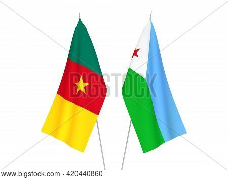National Fabric Flags Of Republic Of Djibouti And Cameroon Isolated On White Background. 3d Renderin
