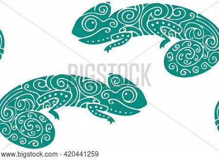 Animal Seamless Pattern With Silhouettes Of Hand Drawn Doodle Funny Chameleon. Stylized Funny Green