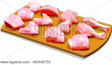 Vector Illustration Of Raw Chicken Tender Curry Cut Without Skin Arranged On Wooden Board, Isolated.